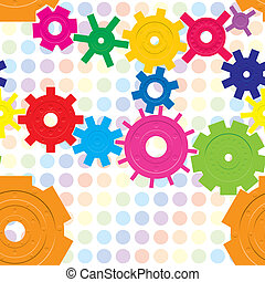 Seamless pattern with cogwheels on raindow background, vector illustration