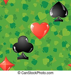 Card suits - Seamless background with card suit, vector...