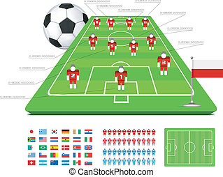 Soccer Tactical Kit Set for infographics Vector illustration...