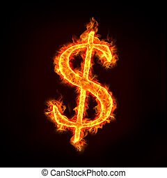 dollar sign in fire with flames, for money concepts.