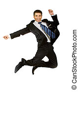 Happy businessman jumping in air against isolated white -...