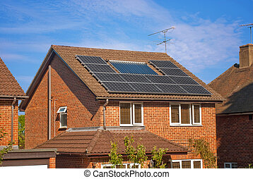 Solar panels on house - House roof with regenerative energy...