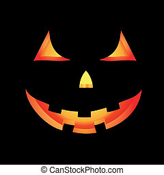 Halloween Pumpkin - Vector Halloween card with glowing scary...