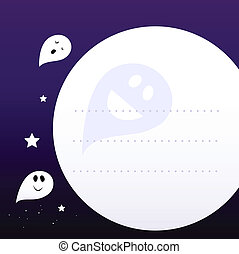 Halloween Ghosts Frame or Background with Blank Space -...