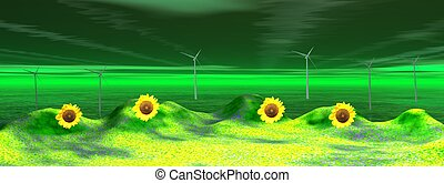 landscape and wind turbine - wind turbine and sunflowers
