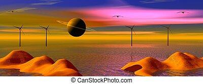 landscape wind turbine