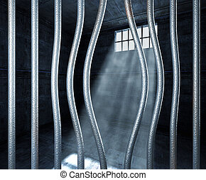 prison 3d and bended metal bar background