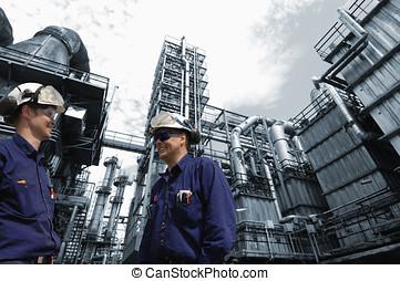 químico, trabajadores, aceite, industria
