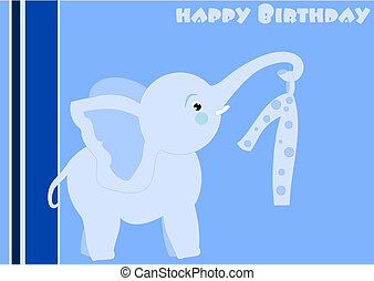 Happy Birthday - little blue elephant