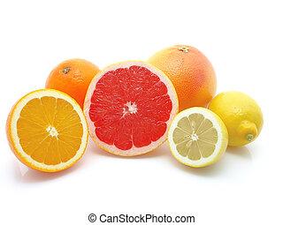 orange, lemon and grapefruit on white background