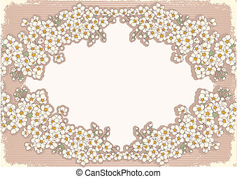 Vintage floral background with decor frame for text