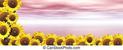 Pink ocean and sunflowers