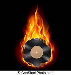 Vinyl record burning symbol. Illustration on black...