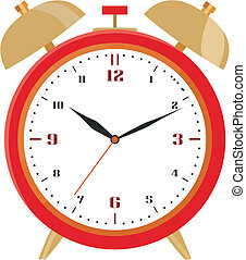 Red alarm clock - Image of the old clock on the white
