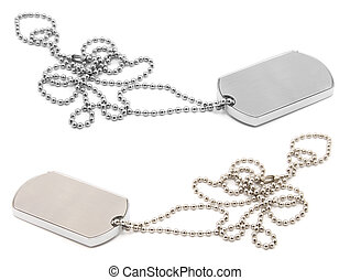 army dog tags - blank army dog tags isolated on white...