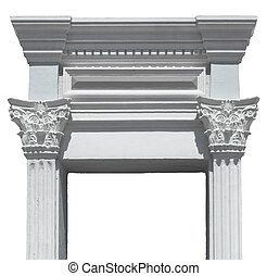 Greek columns gate white plaster and marble isolated