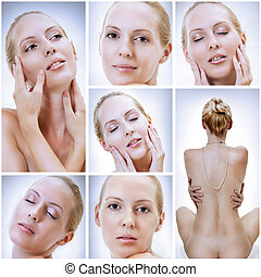 woman face closeup collage - Blond beautiful sexual woman...