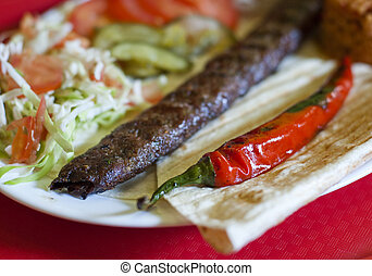 Turkish tradition meal - Adana kebab - Traditional turkish...