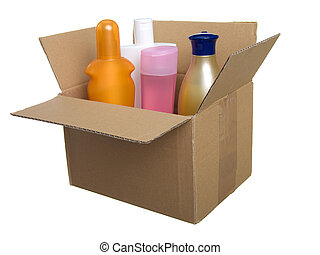 box with plastic bottle for lotion, shampoo, sunscreen etc...