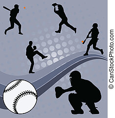 Baseball players on the abstract background- vector