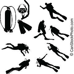 Scuba divers silhouettes collection - vector