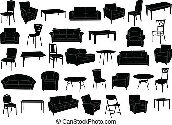 furniture - Furniture collection silhouette - vector