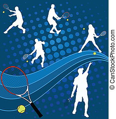 Tennis players on the abstract background - vector