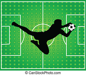 goalkeeper silhouette - Abstract soccer background with...