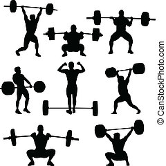 Weightlifters silhouettes collection - vector