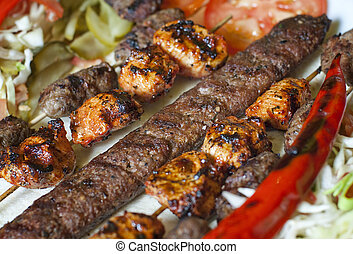 Selection of traditional turkish kebab - Meatball (kofte),...