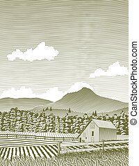 Woodcut Idaho Barn - Woodcut style illustration of a rural...