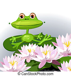 funny frog on lily