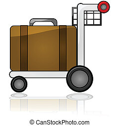 Luggage cart - Glossy illustration showing an airport cart...