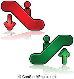 Escalator signs - Glossy illustration of escalators signs:...