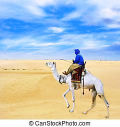Bedouin on camel going through desert.