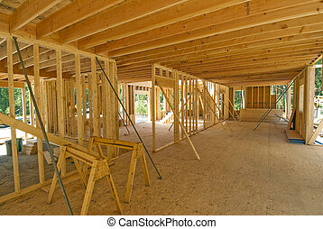 Interior framing of a new house