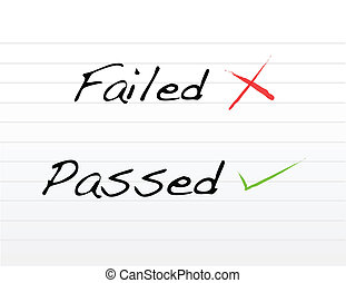 Failed and passed written on white paper.