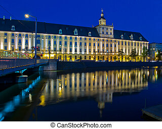 university in Wroclaw, Poland - night scene of university in...