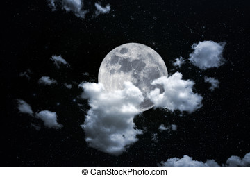 Full moon behind thick cloud - Photo composition with full...
