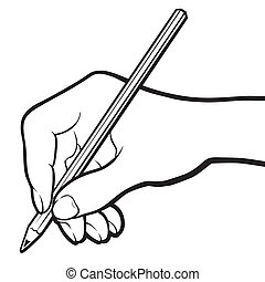Hand with pencil. Black and white. - Hand with pencil. Black...