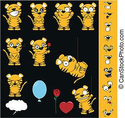tiger cartoon set1 - tiger cartoon set in vector format