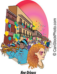 New Orleans Louisiana Mardi Gras - Mardi Gras celebration on...