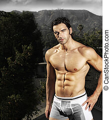 Male fitness model - Sexy buff fit male model outdoors