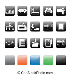 Office Icons - Various officeorientation icons on black with...