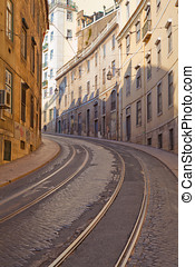 Street with tramway rails in Lisbon, Portugal