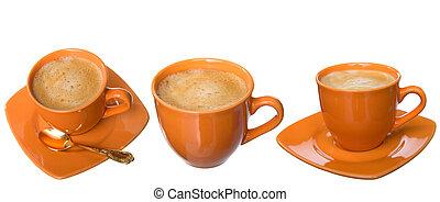 three noggin coffee with foam, sugar and tea-spoon on white...