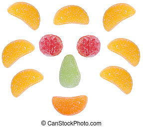 colorful fruit candies isolated on white