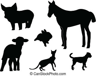 Baby animals silhouettes - vector