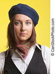 Woman as artist portrait in retro style
