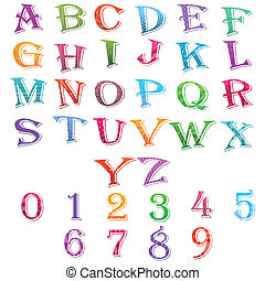 Alphabet and Number Set - illustration of set of alphabet...